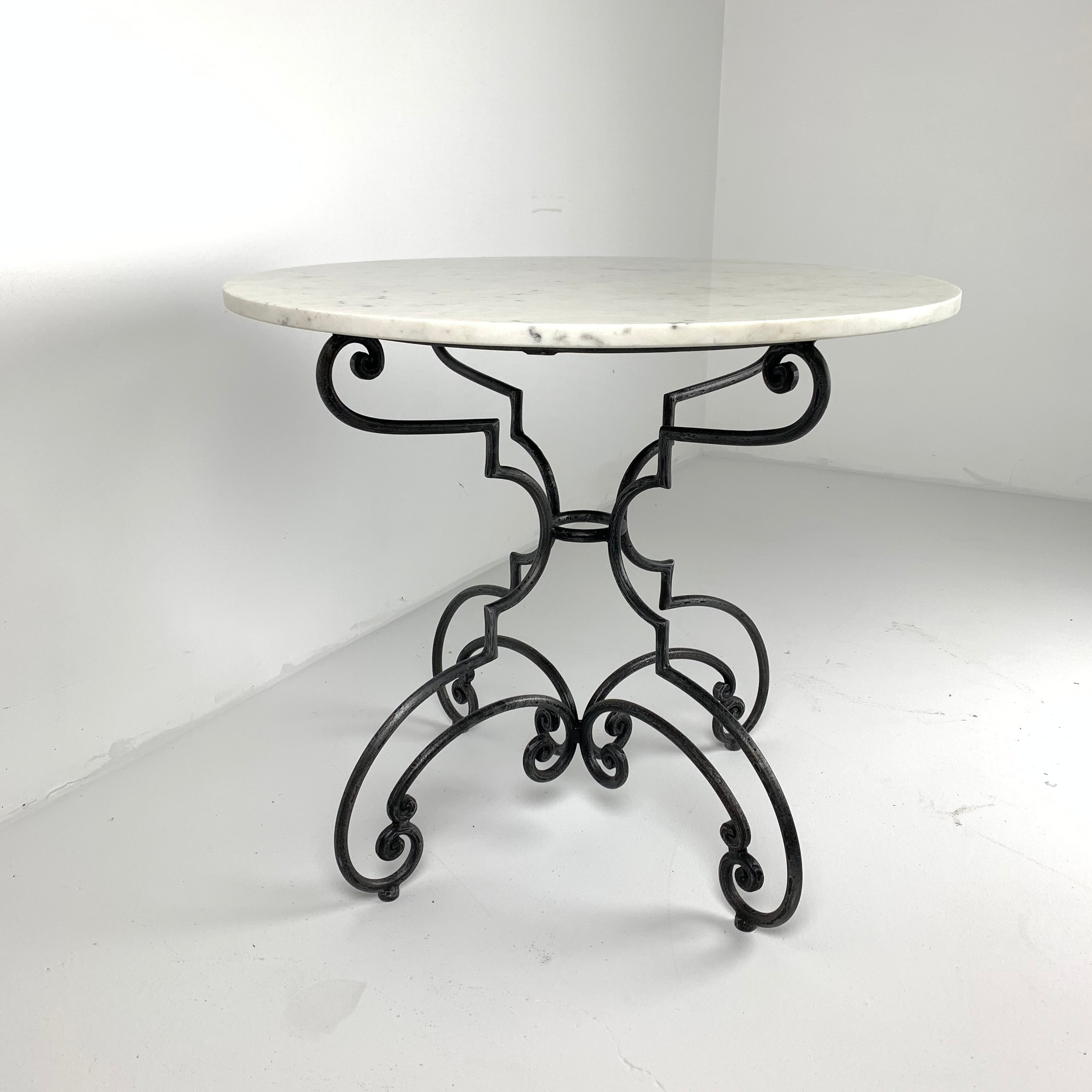 French Iron and Marble Table