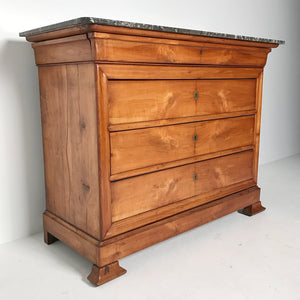 Antique French Louis Philippe Cherry Commode with Marble Top