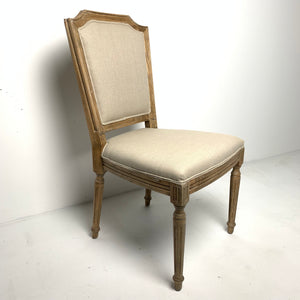Oak Framed Linen Sprindle Leg Side Chair