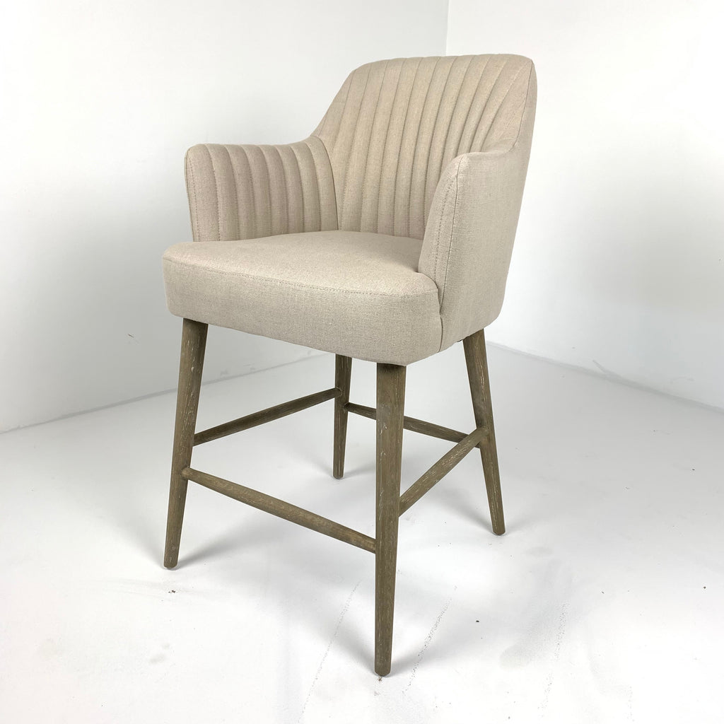 Counter Arm Stool in Ecru Linen
