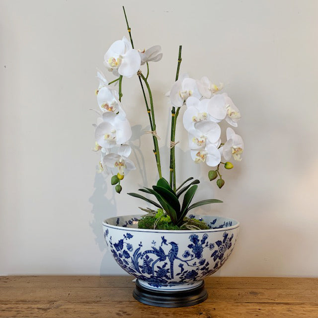 Pheasant on Tree Vines Blue & White Porcelain Bowl with Base & Double White Orchid with Bamboo Sticks and Moss Base