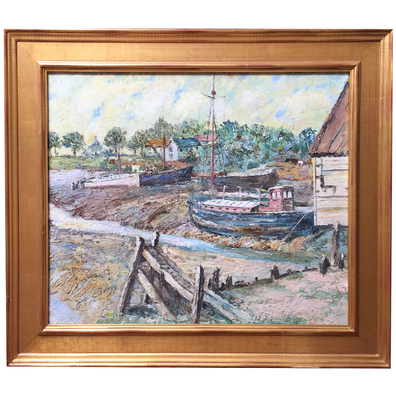 Antique Harbor Painting