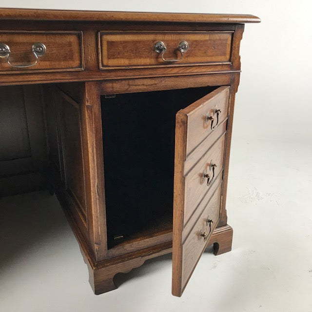 English Oak Desk with Yew Banding