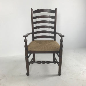 English Ladder Back Arm Chair with Rush Seat