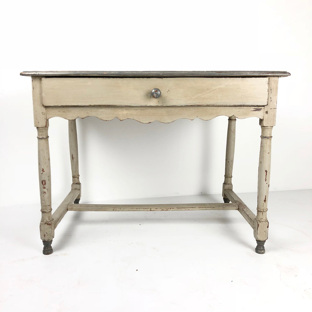 French Antique Painted Bedside Table c1880