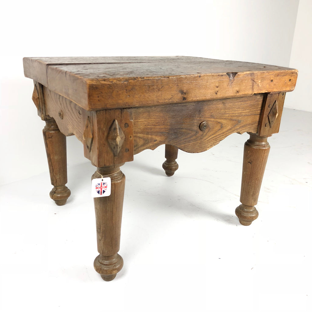 French Antique Butchers Block Side Table c1880