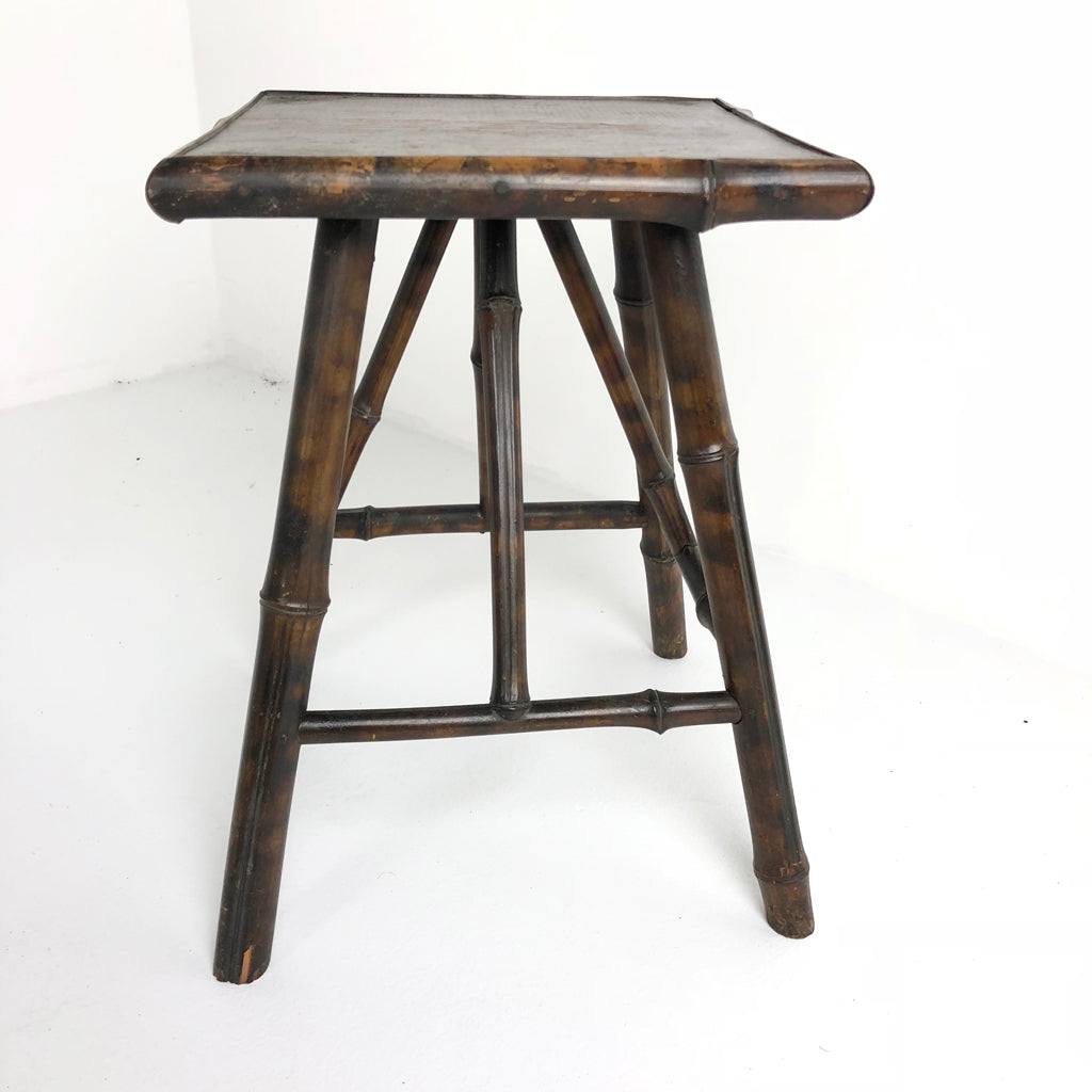 Antique French Bamboo Small Square Table c1920