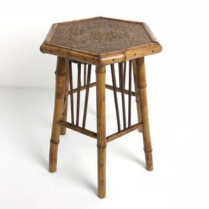 Antique French Bamboo Small Octagon Table c1920