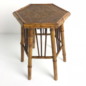 Antique French Bamboo Small Hexagon Table c1920