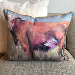 """Brown Cow"" by Karin Sheer Indoor/Outdoor Pillow"