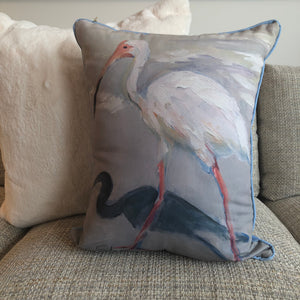 """White Ibis"" by Karin Sheer Indoor/Outdoor Pillow"