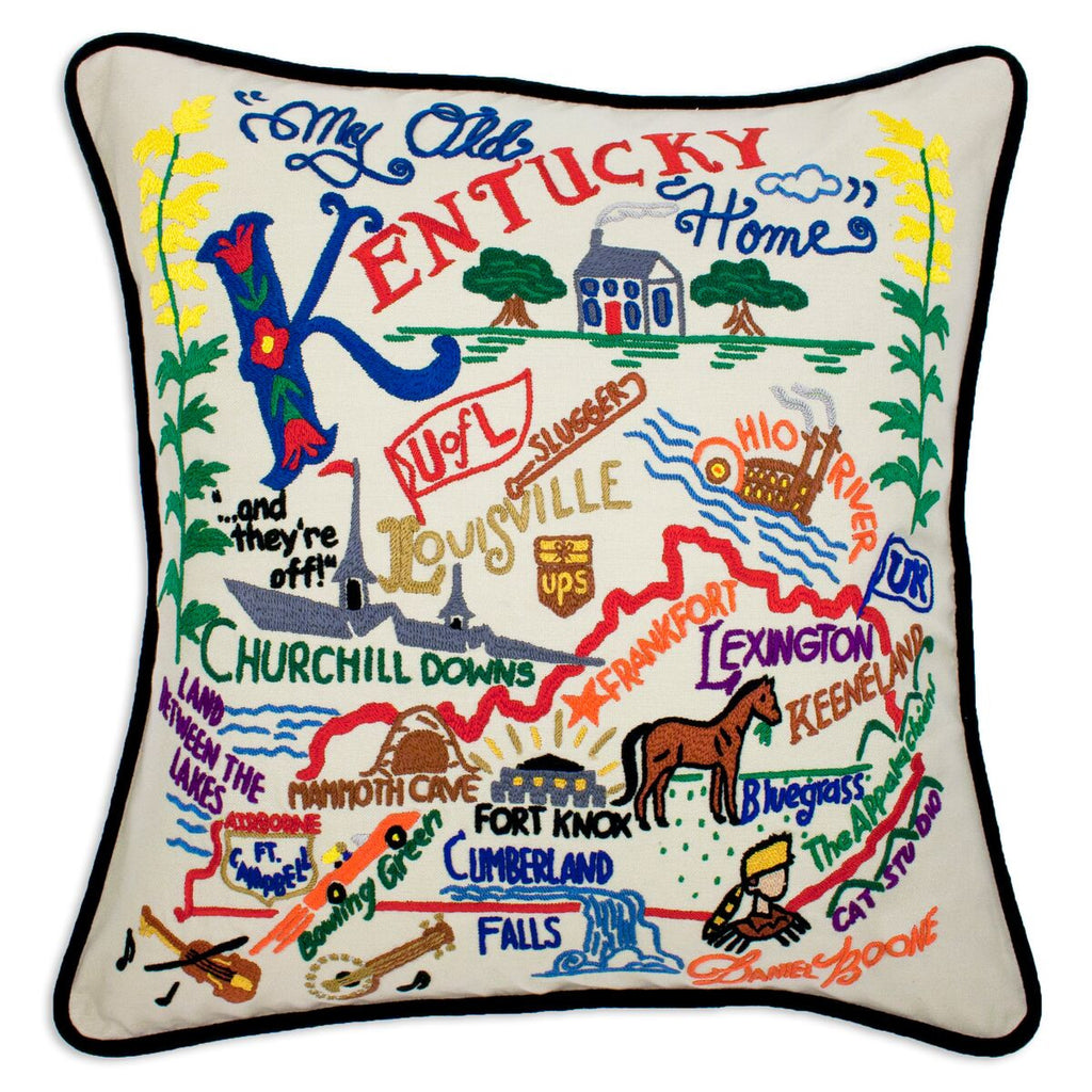 Kentucky Hand-Embroidered Pillow