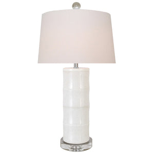 White Jade Table Lamp with Crystal Base