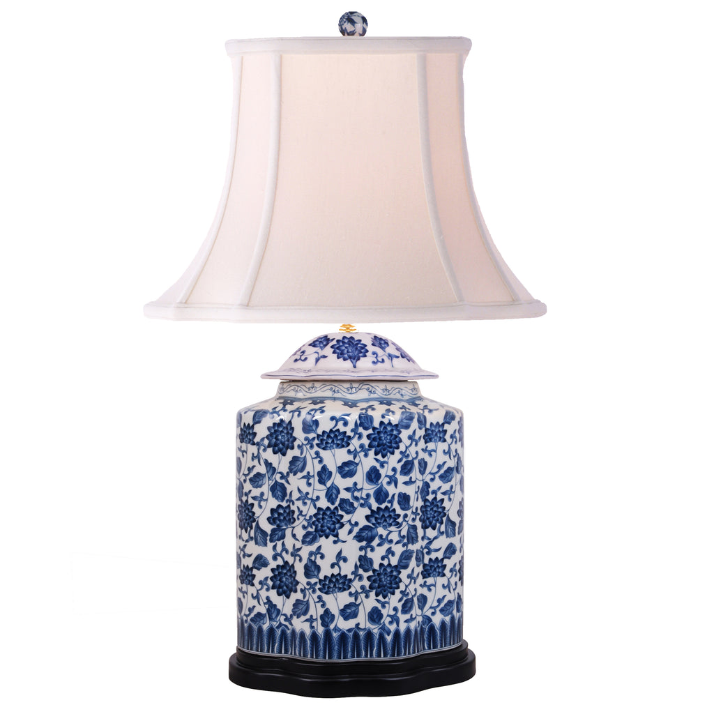 Scalloped Blue & White Tea Jar Table Lamp