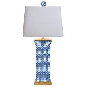 Blue and White Rectangle Porcelain Jar Lamp with Gilded Base