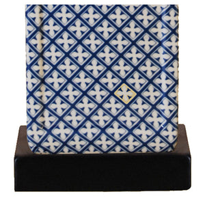 Navy Blue and White Porcelain Square Jar Lamp