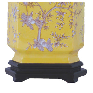 Yellow Porcelain Cut Corner Jar Table Lamp