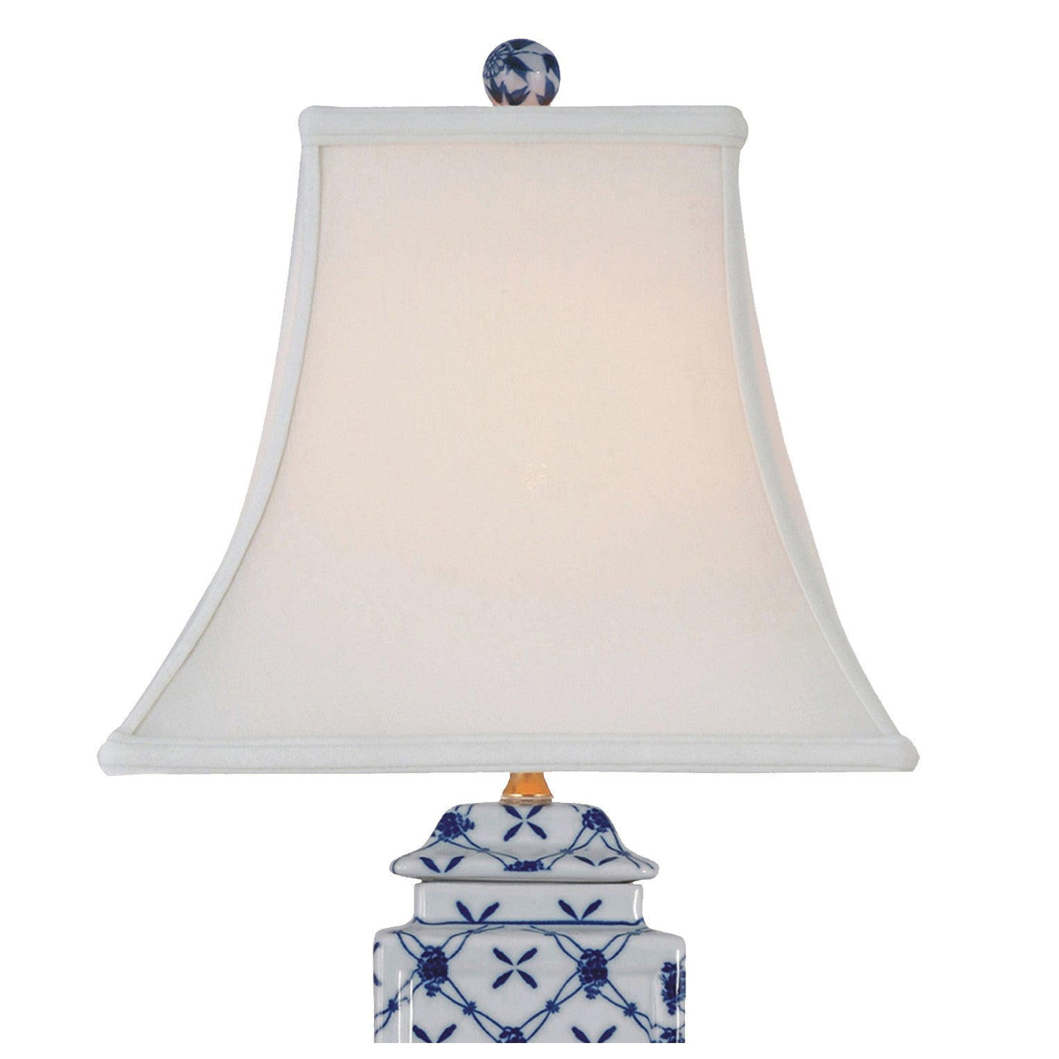 Square Cut Jar Porcelain Blue Table Lamp