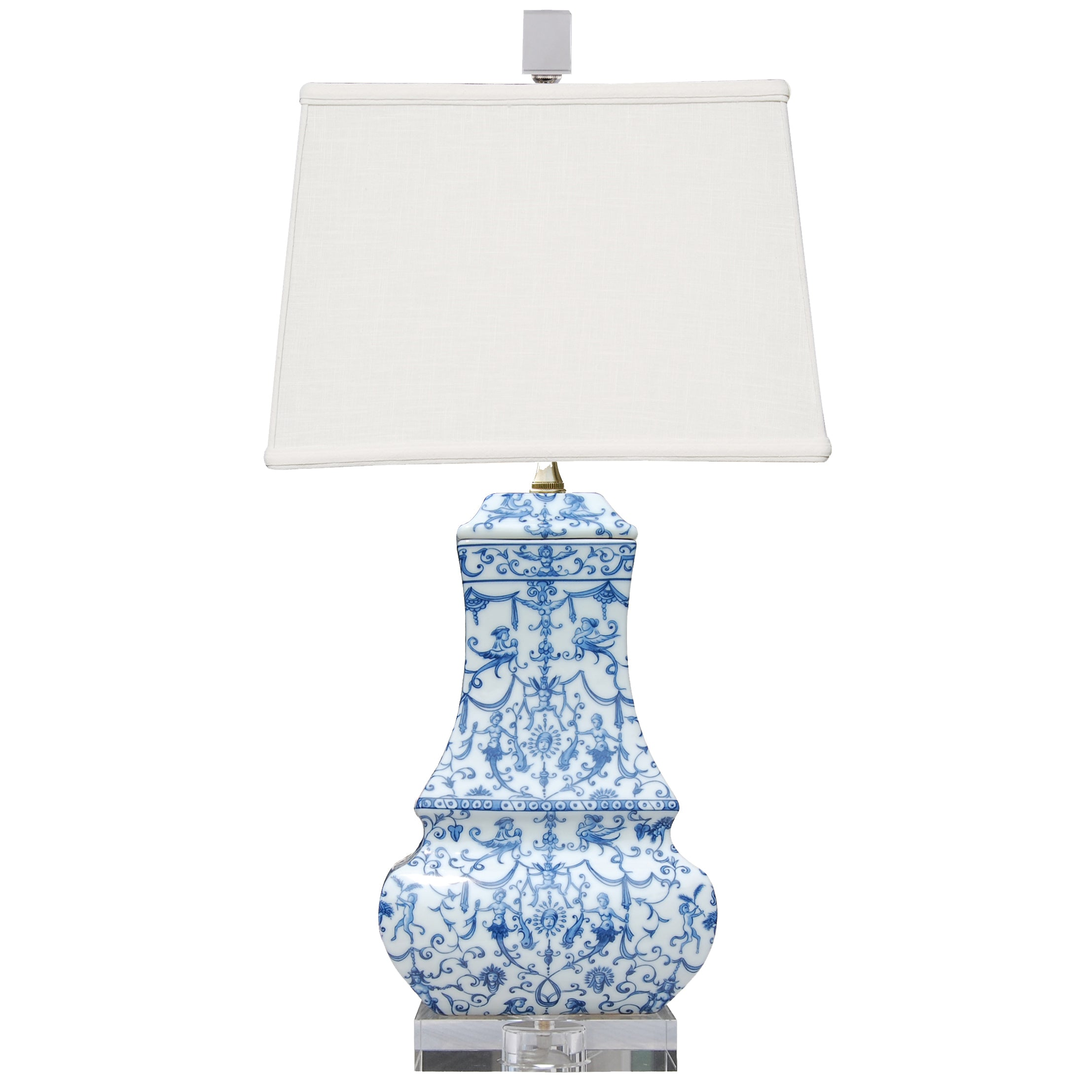 Blue U0026 White Porcelain Table Lamp With Crystal Base