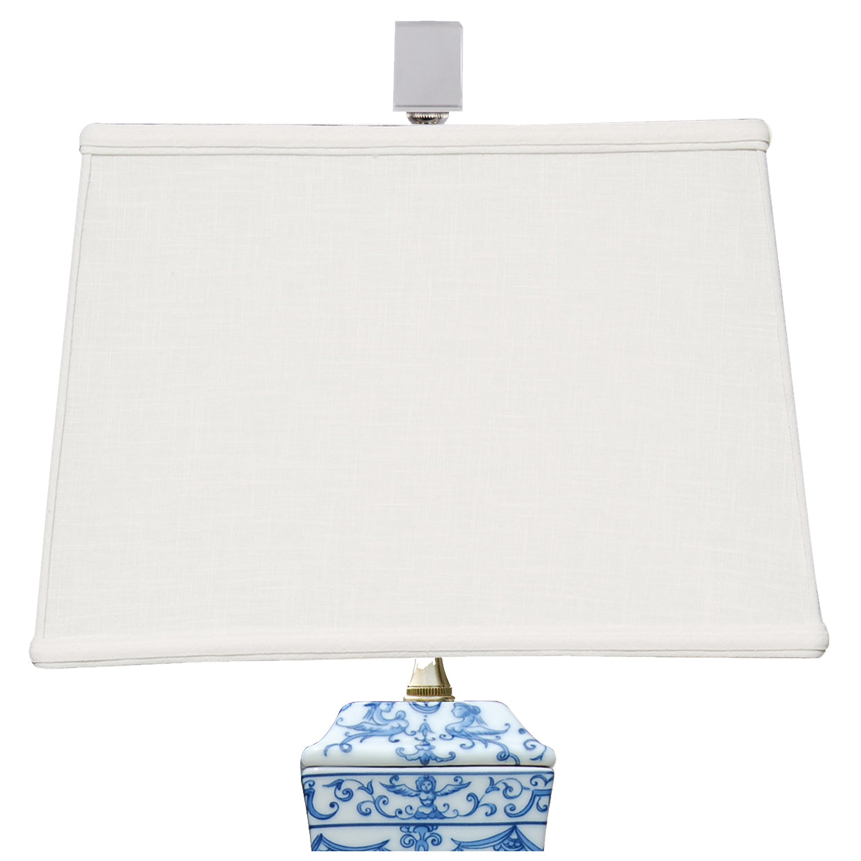 Blue & White Porcelain Table Lamp with Crystal Base