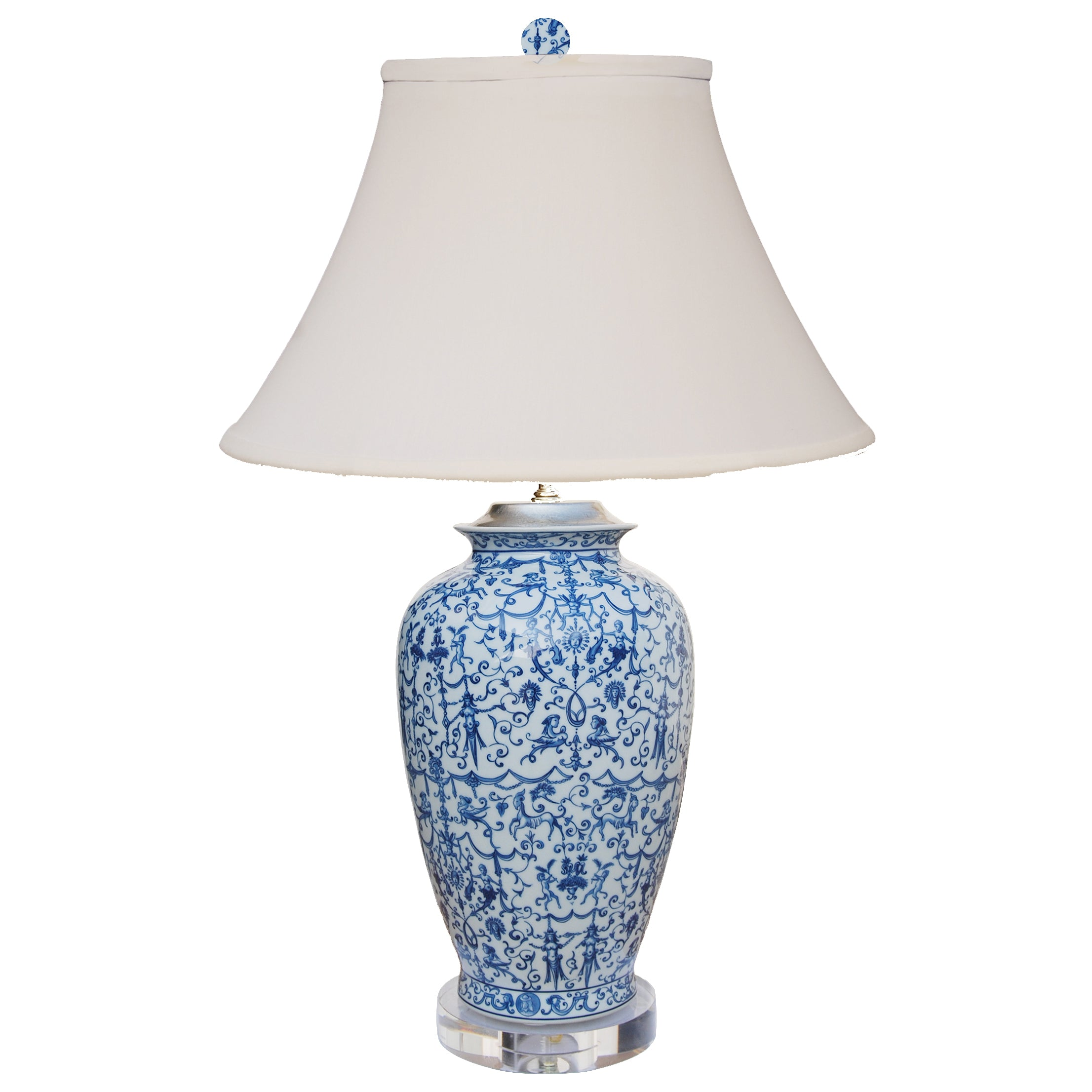 Oriental Blue & White Table Lamp with Crystal Base