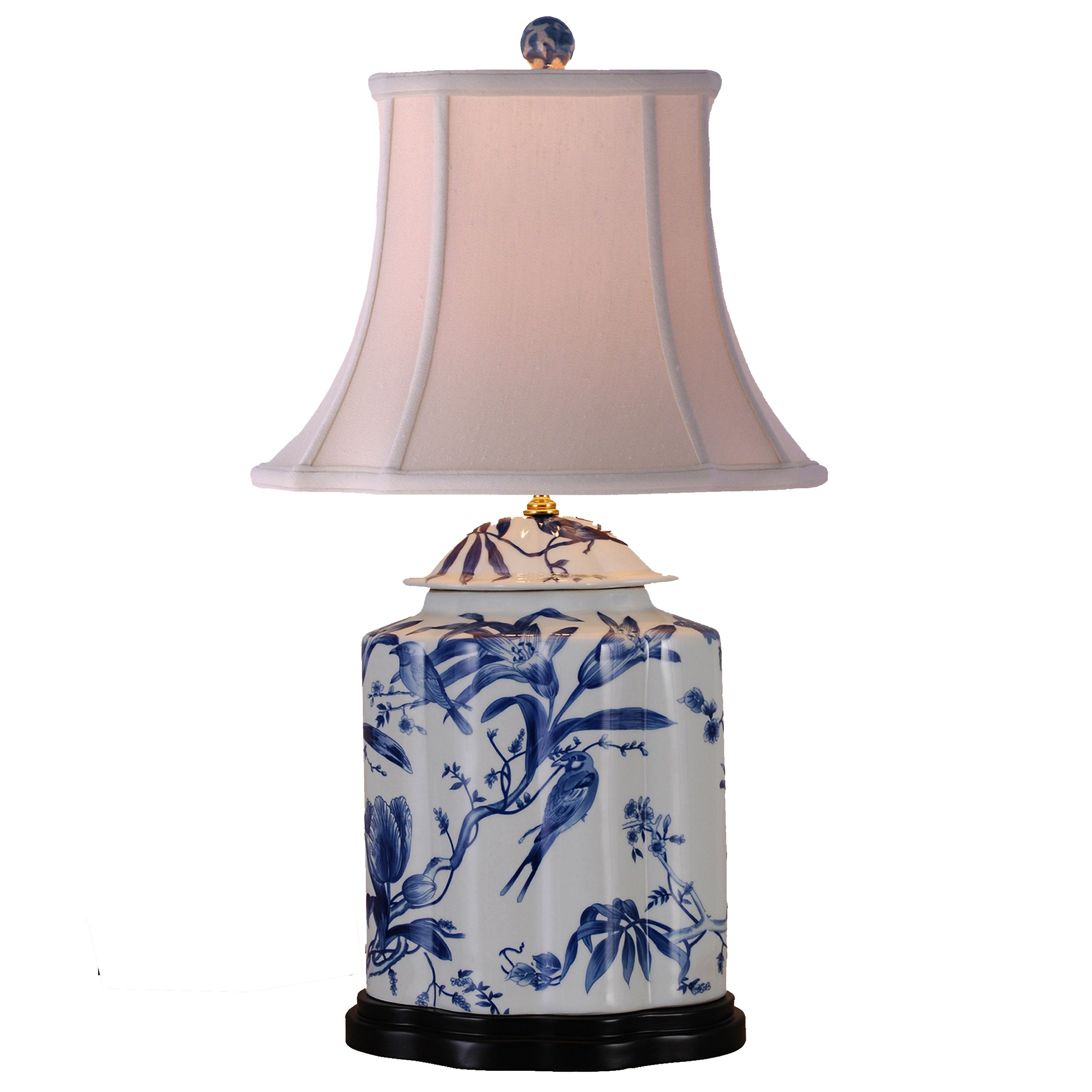 Paradise Birds Blue & White Porcelain Tea Jar Table Lamp