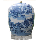 Canton Porcelain Ginger Jar Lamp with Crystal Base