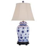 Blue & White Porcelain Temple Jar Lamp