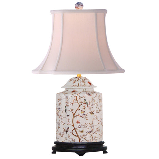 Hummingbirds & Butterflies Tea Jar Porcelain Table Lamp