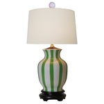 Striped Green & White Vase Table Lamp
