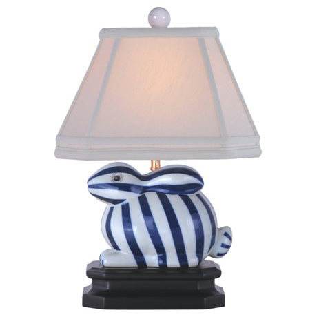 Bunny, Blue & White Striped Porcelain Lamp