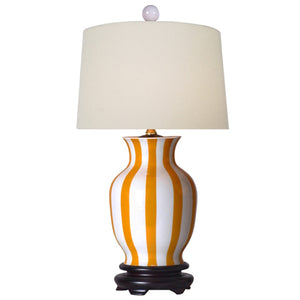 Striped Yellow & White Vase Table Lamp