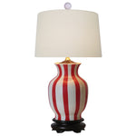 Striped Red & White Vase Table Lamp