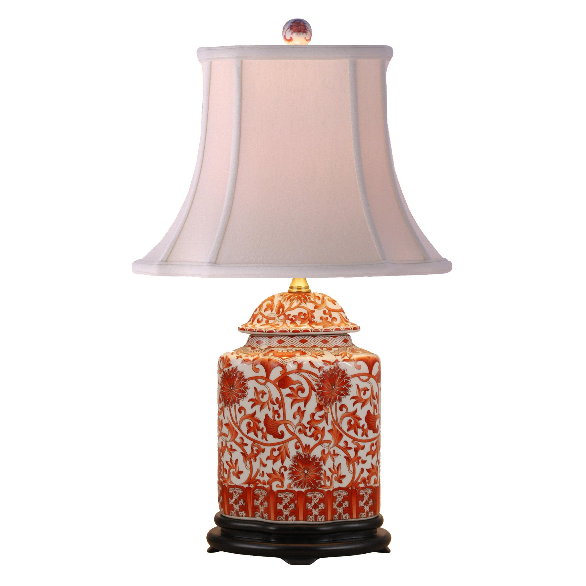 Coral Floral Tea Jar Porcelain Lamp