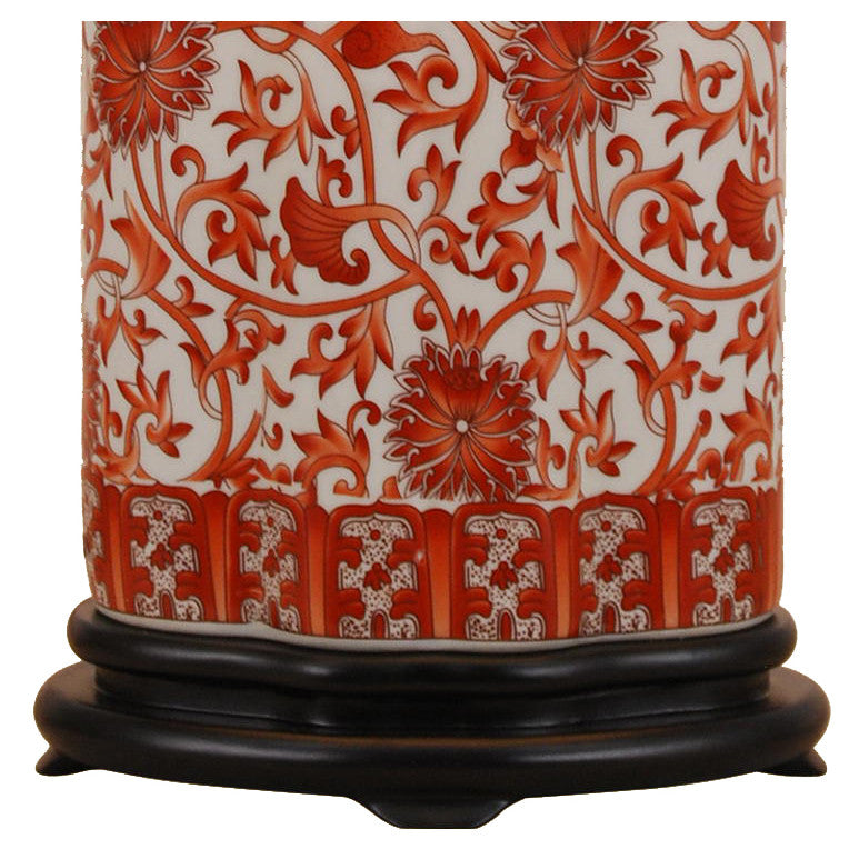 Coral Red Floral Tea Jar Porcelain Lamp