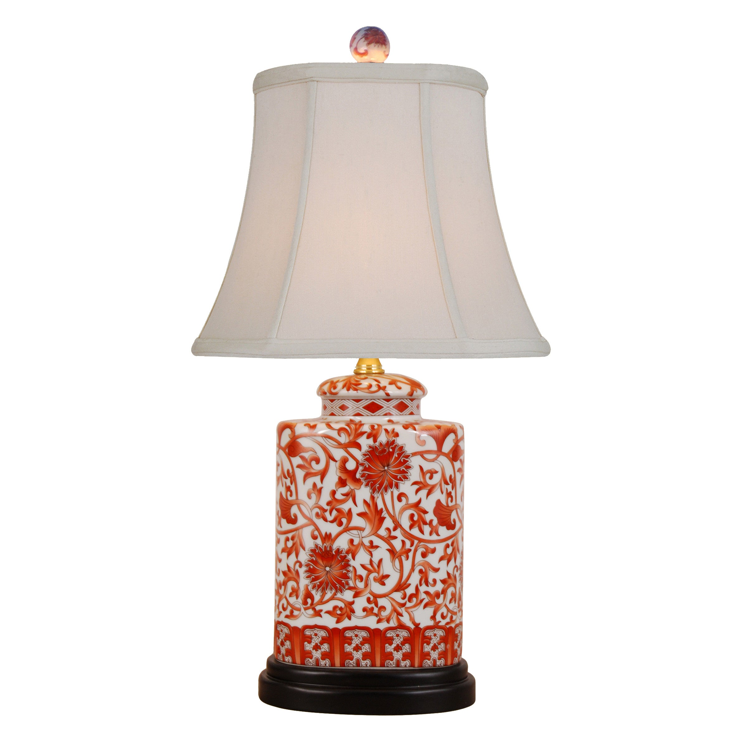 Coral Floral Oval Table Lamp