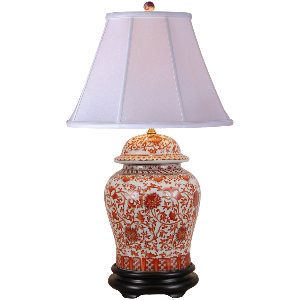 Coral Red Floral Temple Jar Porcelain Lamp