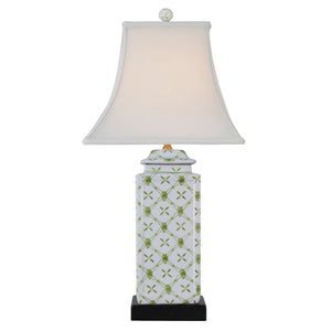 Square Cut Jar Porcelain Green Table Lamp