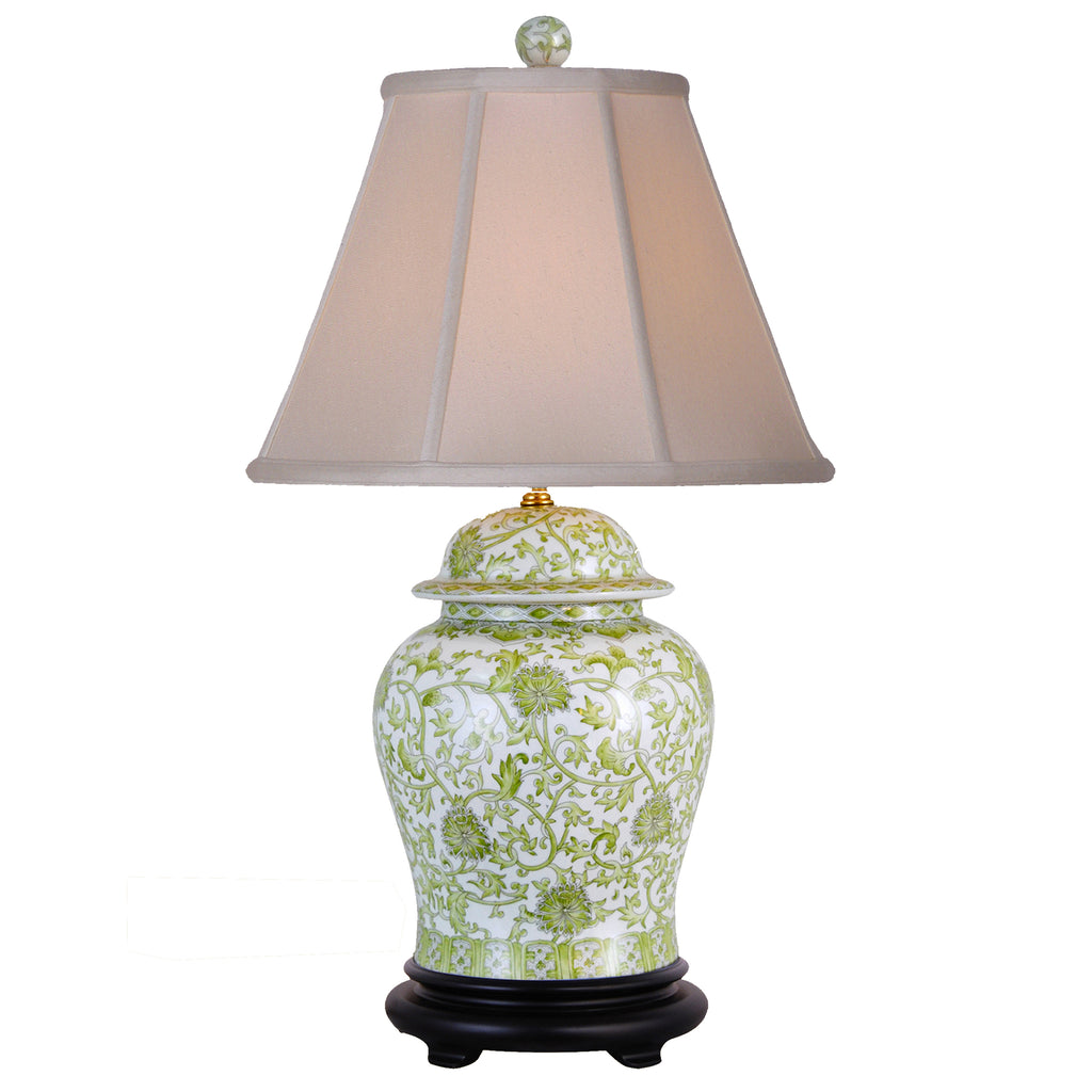 Floral Lemon Green Temple Jar Porcelain Lamp