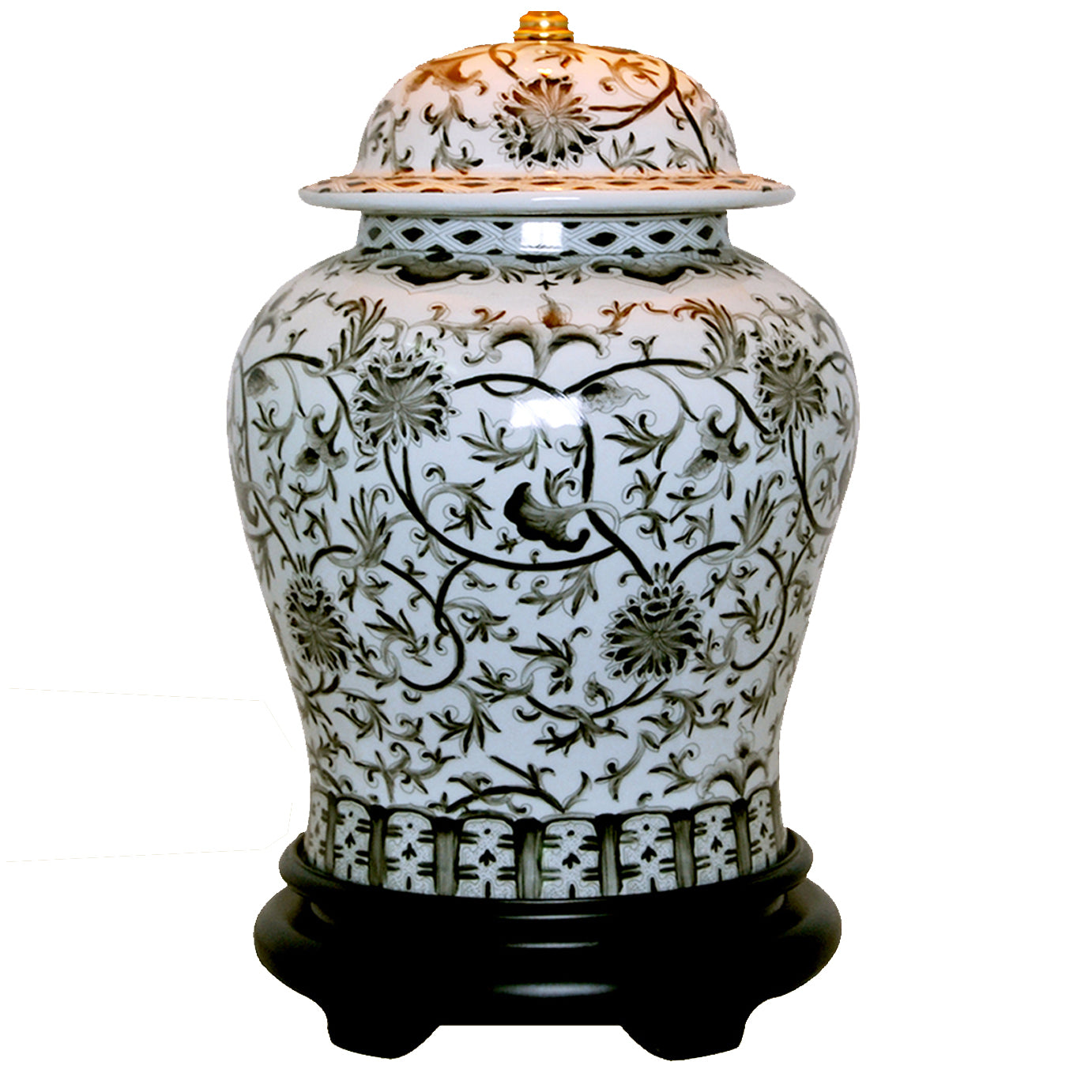 Floral Black & White Temple Jar Porcelain Lamp