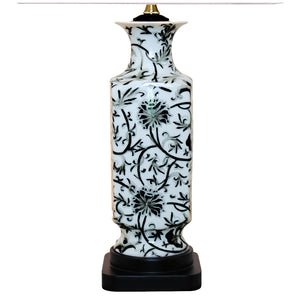 Square Black & White Botanical Vase Porcelain Lamp