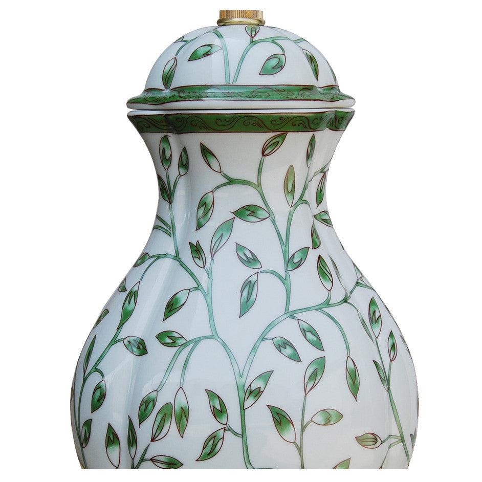Green Vine Porcelain Oval Jar Lamp with Silver Base