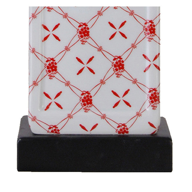 Square Cut Jar Porcelain Red Table Lamp