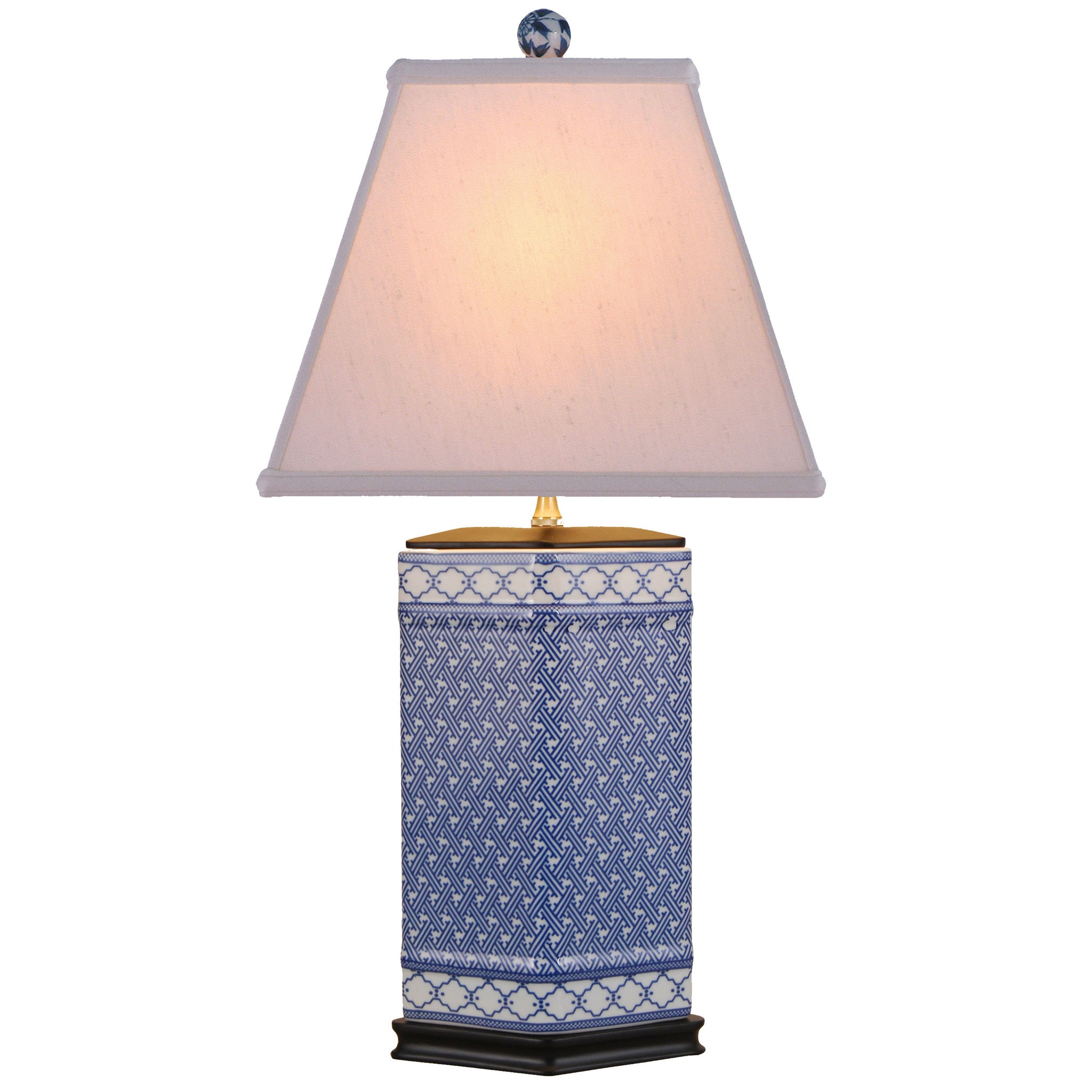 Rhombic Blue And White Porcelain Table Lamp ...