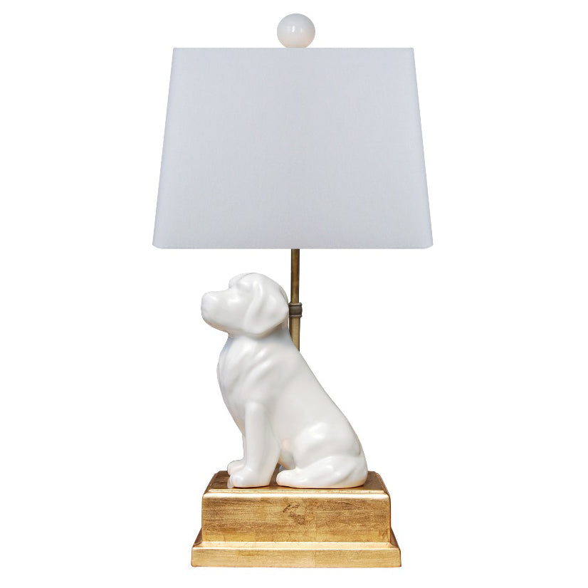 Man's Best Friend White Porcelain Lamp with Gold Leaf Base