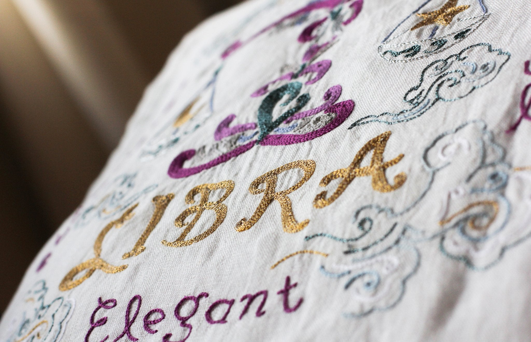 Libra Astrology Hand-Embroidered Pillow