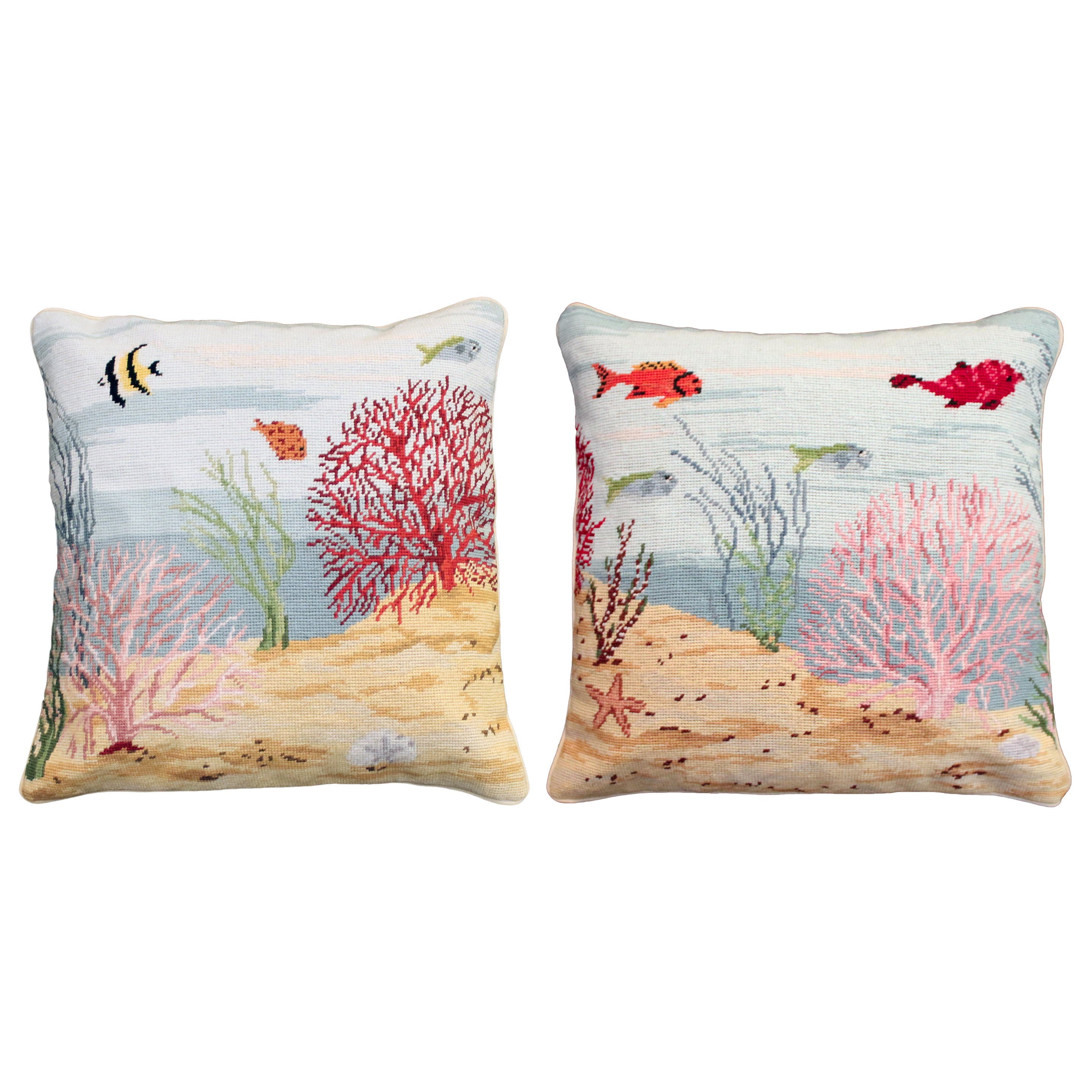 Coral Needlepoint Pillow, Left Side