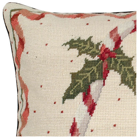 Candy Cane Needlepoint Pillow