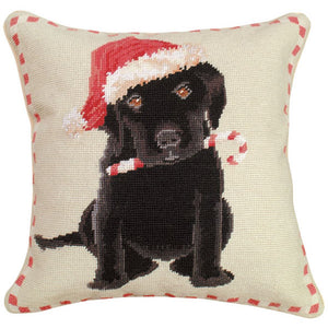 Christmas Black Lab Needlepoint Pillow