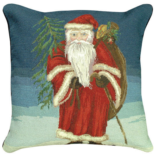 Santa with Tree Needlepoint Pillow